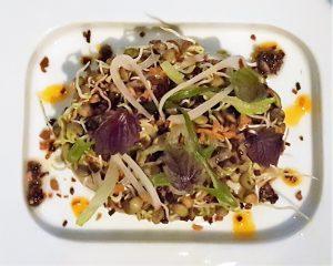 Tea leaf salad, black cod, sprouted legumes