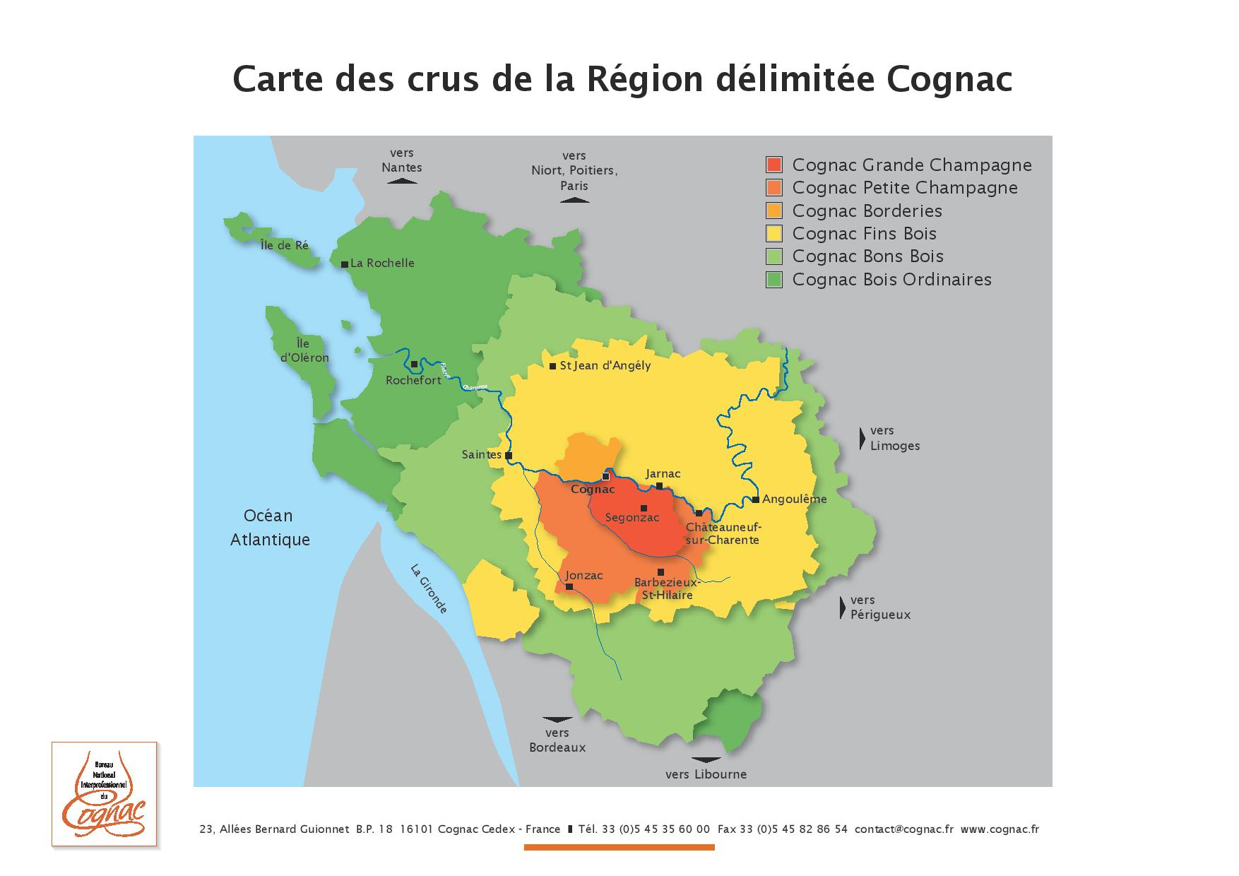 map of cognac