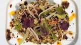 Tea leaf salad, black cod, sprouted legumes